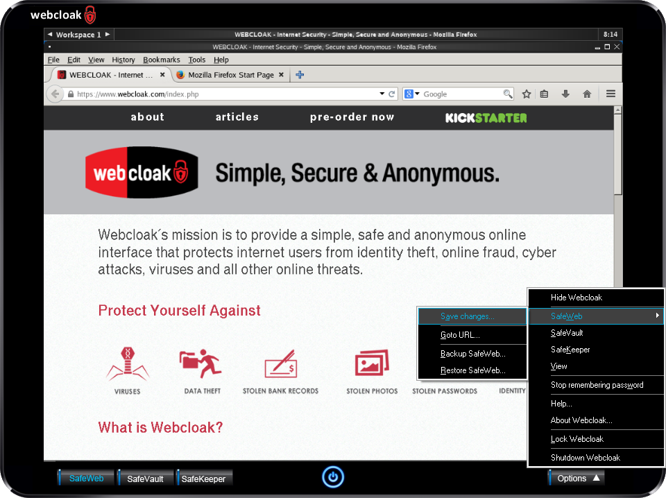Webcloak SafeWeb Options